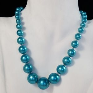 Vintage Turquoise Faux Pearl Choker Necklace